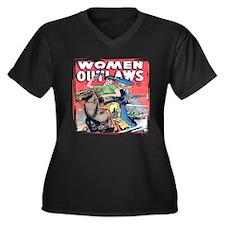 Women Outlaws - Women's Plus Size V-Neck Dark T-Sh