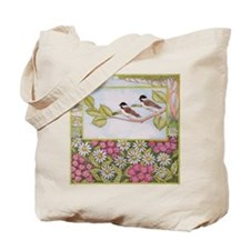Chickadees and Daisies Tote Bag