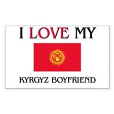 I Love My Kyrgyz Boyfriend Rectangle Decal