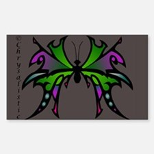 Green Butterfly Rectangle Decal
