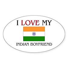 I Love My Indian Boyfriend Oval Decal