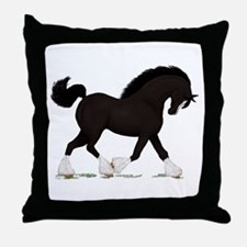 Black Shire with Blaze Throw Pillow