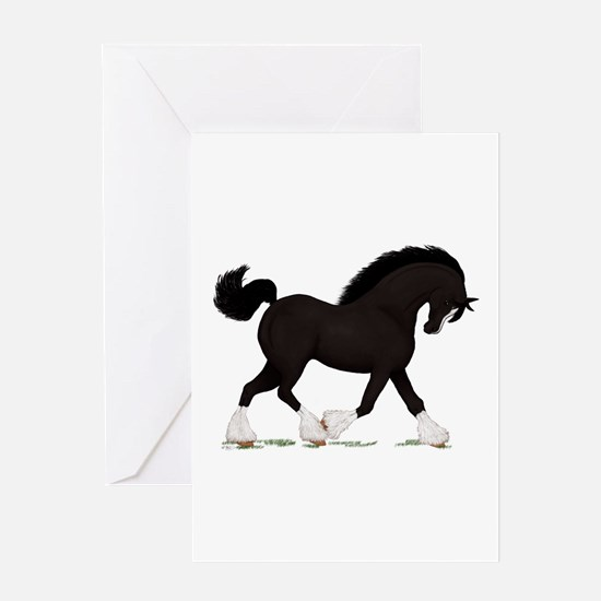 Black Shire with Blaze Greeting Card