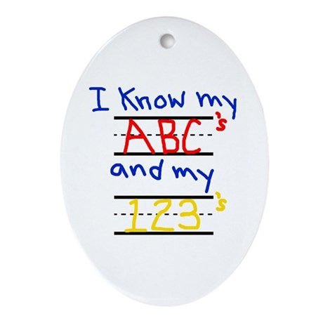 ABCs and 123s Oval Ornament