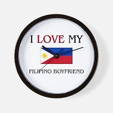 I Love My Filipino Boyfriend Wall Clock