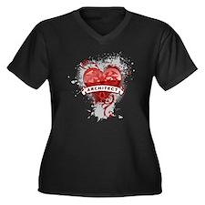 Heart Architect Women's Plus Size V-Neck Dark T-Sh