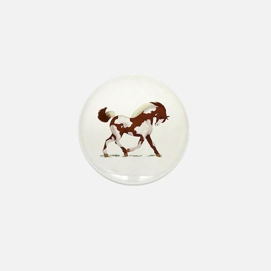Chestnut Overo Horse Mini Button