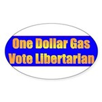 1 Dollar Gas Oval Sticker (50 pk)