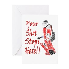 Hockey Goalie - Red -  Greeting Cards (Package of