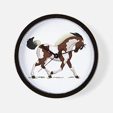 Bay Tobiano Pinto Horse Wall Clock