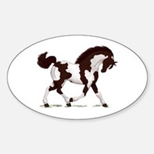 Brown Tobiano Horse Oval Decal