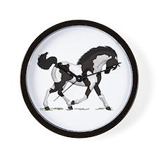 Black Tobiano Horse Wall Clock