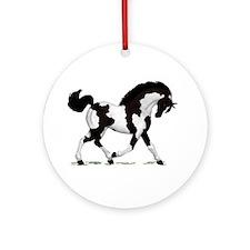 Black Tobiano Horse Ornament (Round)