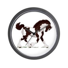 Brown Tobiano Gypsy Horse Wall Clock
