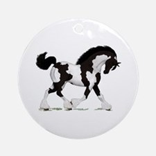 Black Tobiano Gypsy Horse Ornament (Round)