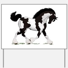 Black Tobiano Gypsy Horse Yard Sign