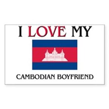 I Love My Cambodian Boyfriend Rectangle Decal