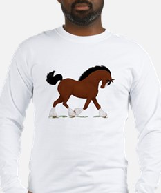 Bay Clydesdale Horse Long Sleeve T-Shirt
