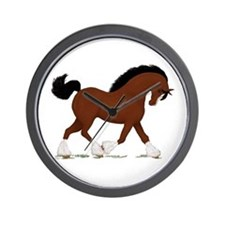 Bay Clydesdale Horse Wall Clock