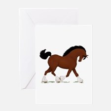 Bay Clydesdale Horse Greeting Card
