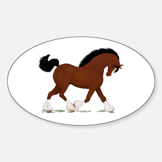Bay Clydesdale Horse Oval Decal