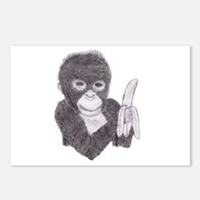 MONKEY WITH BANANA  Postcards (Package of 8)