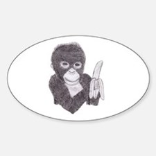 MONKEY WITH BANANA Oval Decal
