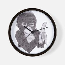 MONKEY WITH BANANA  Wall Clock