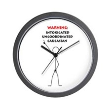 """Caucasion Warning"" Wall Clock"