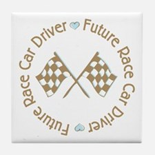 Future Race Car Driver Flag Boy Tile Coaster