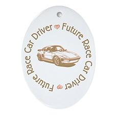 Future Race Car Driver Girl Oval Ornament