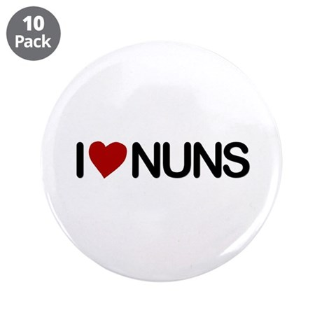 "I Love Nuns 3.5"" Button (10 pack)"