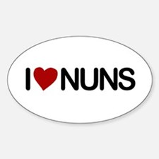 I Love Nuns Oval Sticker (10 pk)