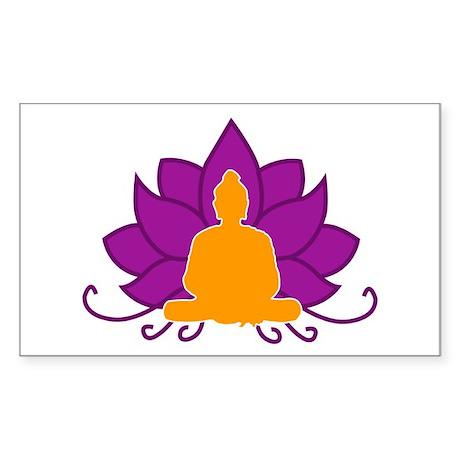 Lotus Flower & Buddha Rectangle Sticker