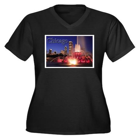 Chicago Women's Plus Size V-Neck Dark T-Shirt