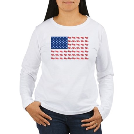 Patriotic Snowmobiler in Flag Women's Long Sleeve