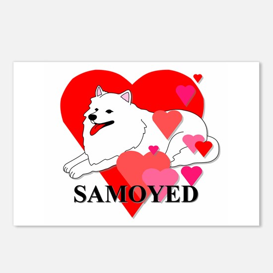 Samoyed Hearts Postcards (Package of 8)