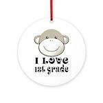 I Love First Grade Ornament (Round)