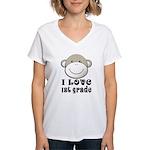 I Love First Grade Women's V-Neck T-Shirt