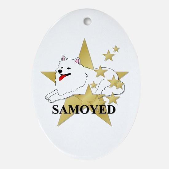 Samoyed Stars Ornament (Oval)