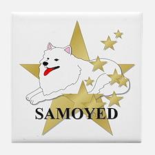 Samoyed Stars Tile Coaster