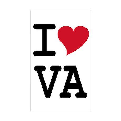 I Heart VA Rectangle Sticker