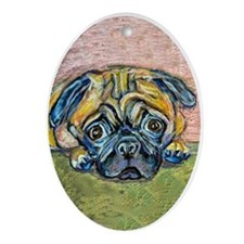 """Winnie"" the Pug Oval Ornament"