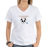 BEAR WITHOUT COFFEE Women's V-Neck T-Shirt