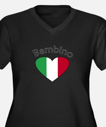 Bambino Heart Women's Plus Size V-Neck Dark T-Shir