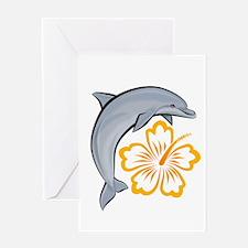 Orange Dolphin Hibiscus Greeting Card
