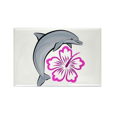 Dolphin Hibiscus Pink Rectangle Magnet (100 pack)