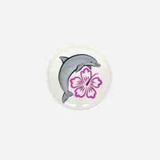 Dolphin Hibiscus Pink Mini Button (10 pack)