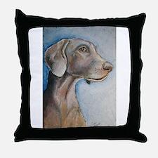 """""""Greta"""" a Weimaraner Throw Pillow"""
