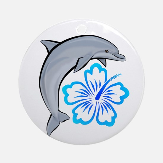 Dolphin Hibiscus Blue Ornament (Round)